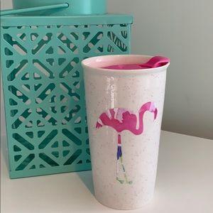 Lily print flamingo on ceramic travel mug